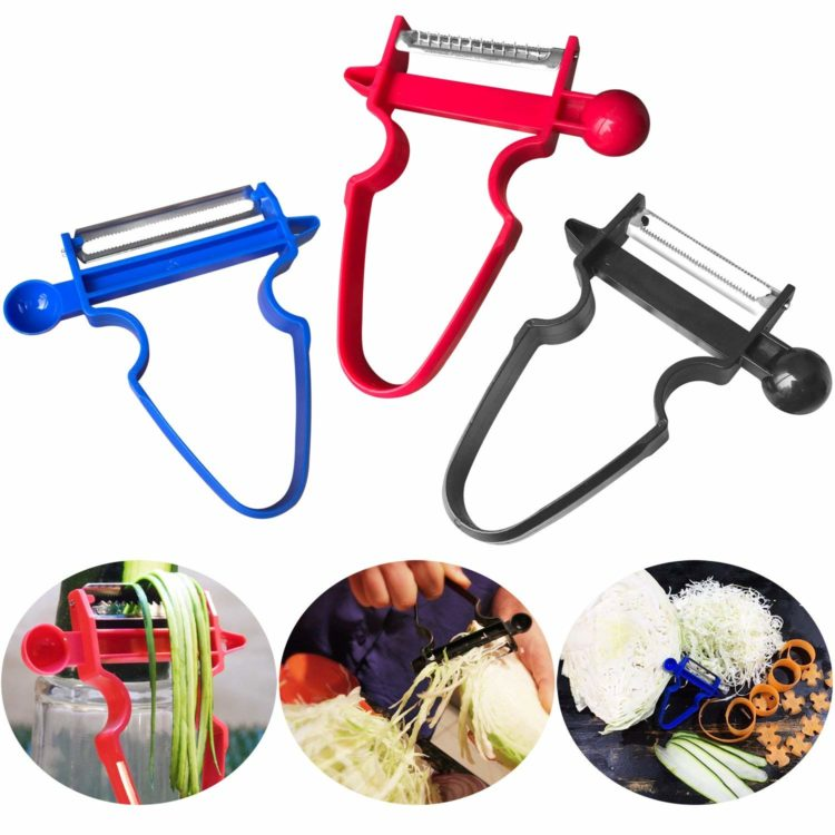 Palm Hand Vegetable Peeler and Fruit Peeler with Rubber Finger Grip ~ Red /& Blue